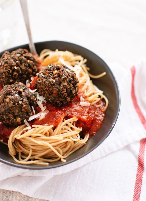 "This vegetarian ""meatballs"" recipe is made with hearty mushrooms and lentils! Delicious."