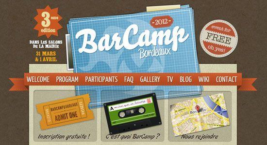Texture website design: http://barcamp-bordeaux.com/
