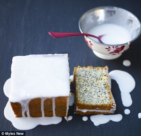 Lorraine Pascale's lemon and lime poppy seed drizzle cake - made by my daughter this morning - she added a drizzle syrup made with lemon and lime juice and caster sugar, and let that soak into the cake before topping with a much thinner icing - sublime