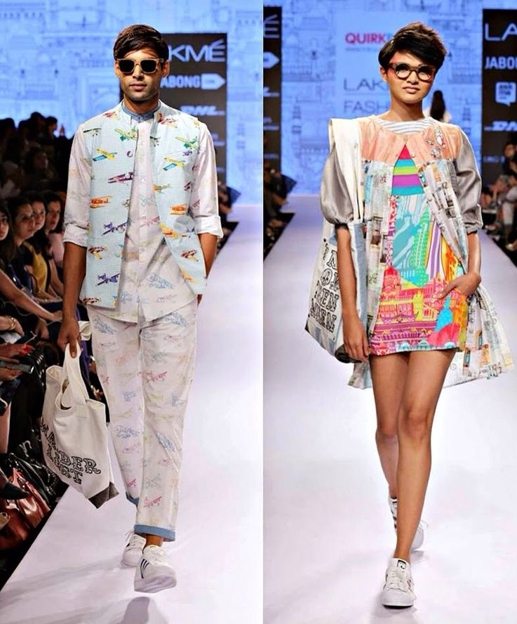 QuirkBox ❤️ Lakme Fashion Week 2015. Printed blazer and pants (airplane) and city printed dress.