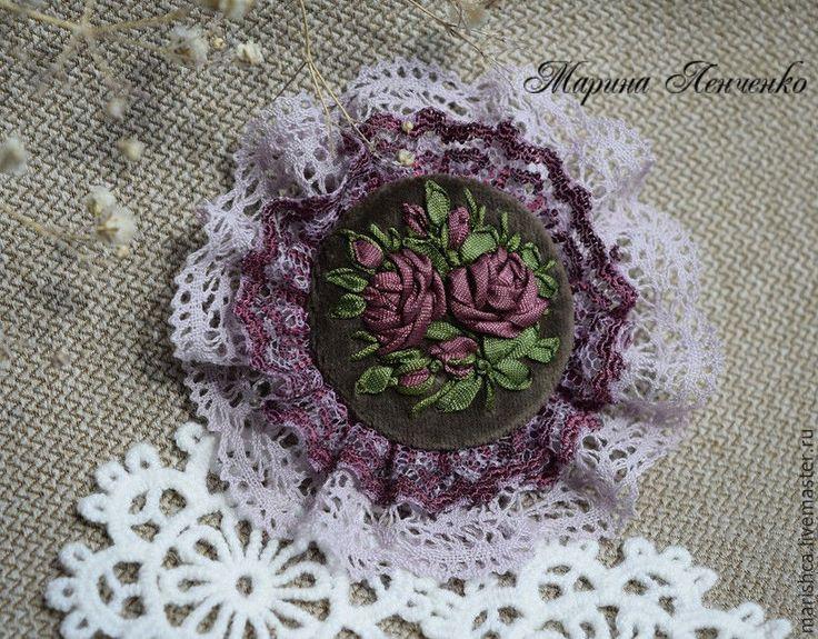 """Купить Брошь """"Лиловая в дымке """" - фиолетовый, фиолетовые розы, лиловые розы"""