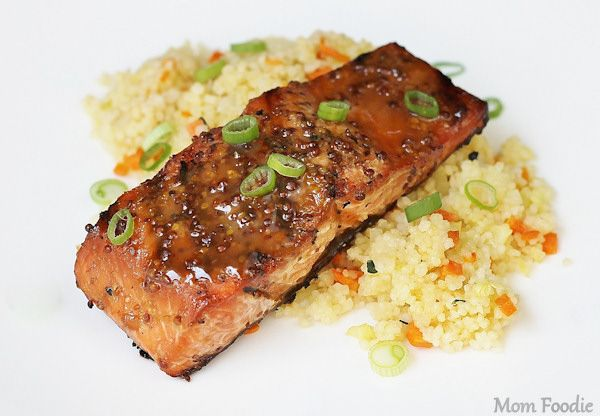 Grilled Maple Mustard Salmon.  I usually do a 1-1-1 of Dijon, Lemon Juice, and Honey, but this a nice alternative.