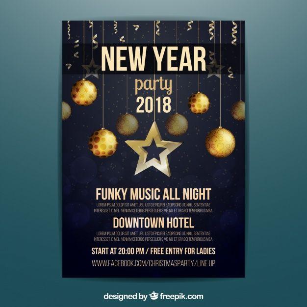 Elegant new year 2018 poster Free Vector