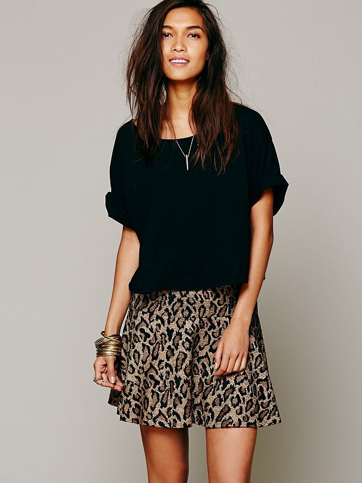 Free People Chenille Cheetah Skirt at Free People Clothing Boutique