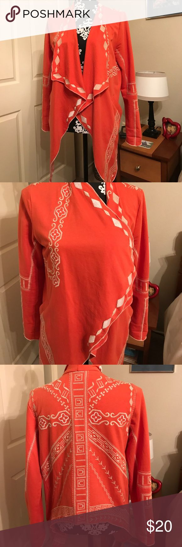 Southwestern Designed Jacket Saw one just like it in blue on Grace and Frankie episode.  Frankie was wearing it, of course!  Unlined, has pockets and lightweight!  100% cotton. Monoreno Tops
