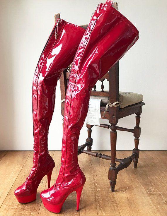 5a845b38a4a1 RTBU PAUL 15cm Platform Crotch Lockable Burlesque LaceUp Zip Crimson Patent
