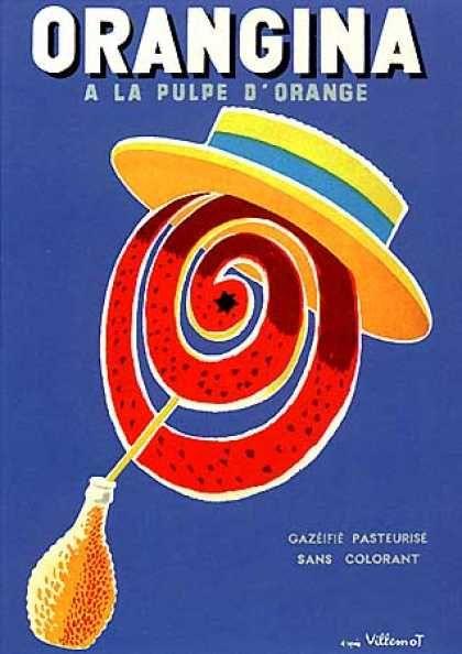 Nothing is quite as refreshing as an Orangina by Bernard Villemot (1955) ...