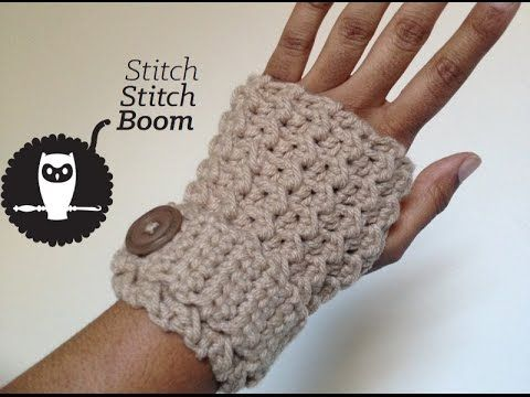 Crochet Tutorial: Moss Stitch Fingerless Mittens by Stitch Stitch Boom!