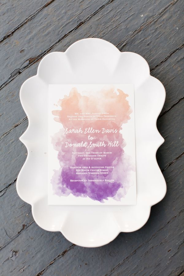 Watercolor purple invitation designed by PaperFreckles.com shot by StephanieYoncePhotography.com