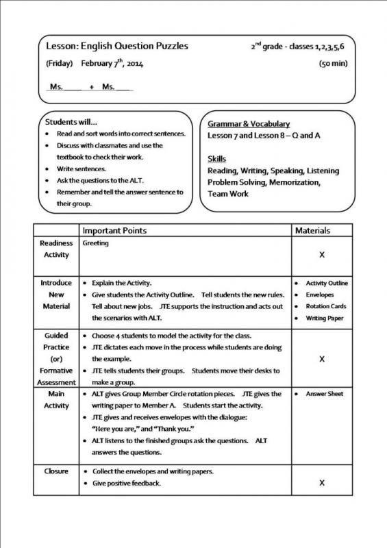 sample lesson plans lesson plan sample