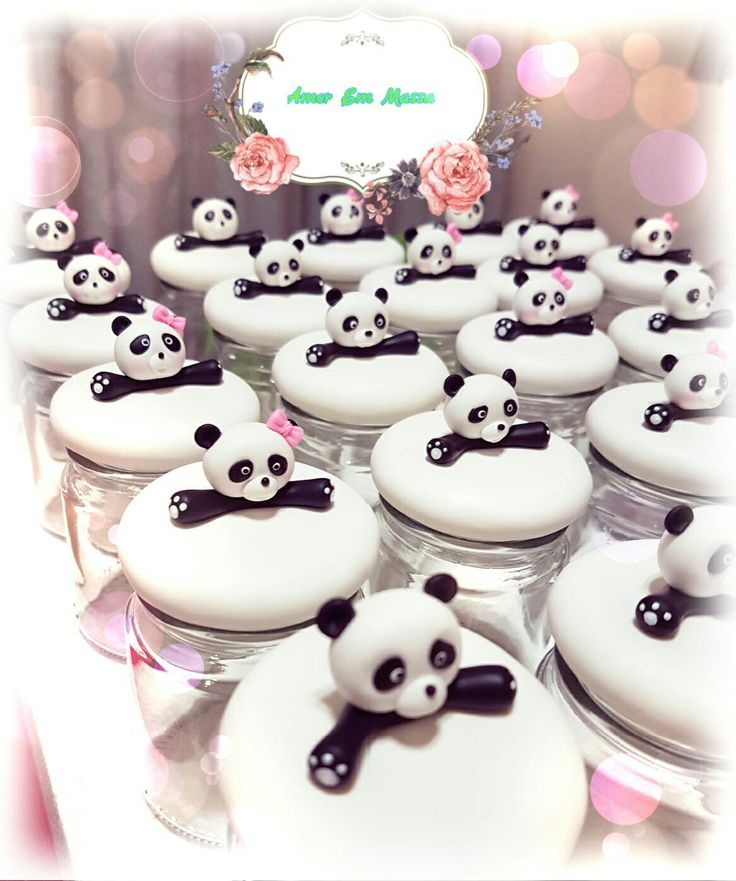 Panda pots🐼🌸 #coldporcelain#handmade#