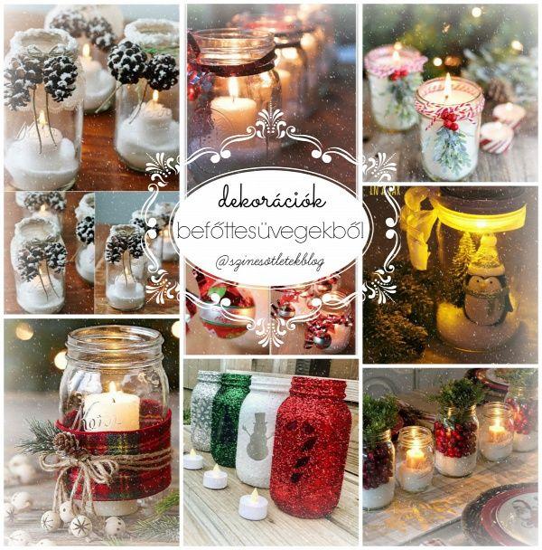 karácsony befőttesüveg mécsestartó dekoráció