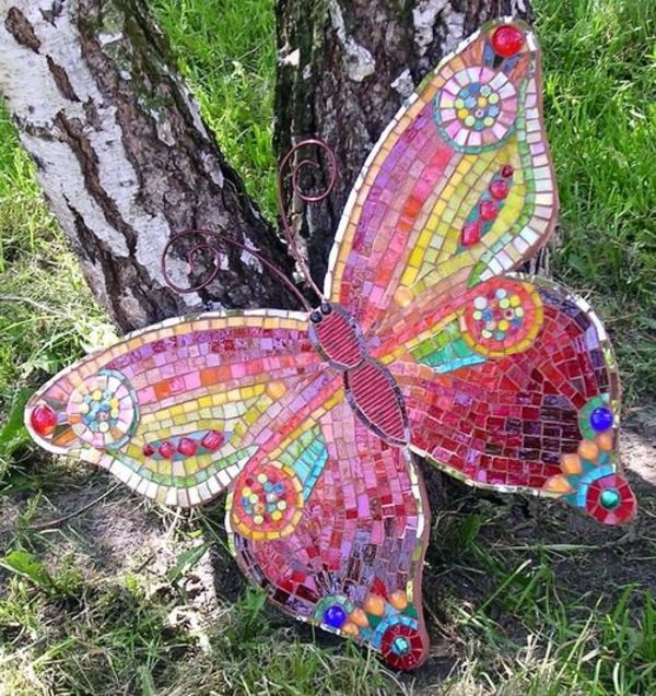 Bsateln schmetterling mosaik gartenideen deko garten - Mosaik garten ...