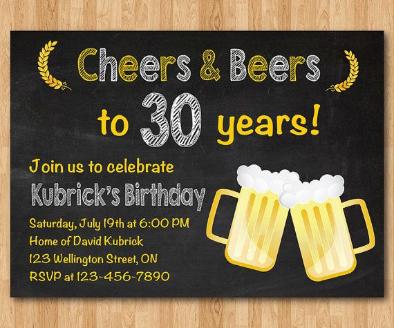 30th+birthday+invitation.+Beer+party+invitations.+Chalkboard.+30th+40th+50th+60th+for+Men.+Big+30.+Surprise+Birthday.+Printable+Digital+DIY Never too early to start thinking about the man's big 3-0!