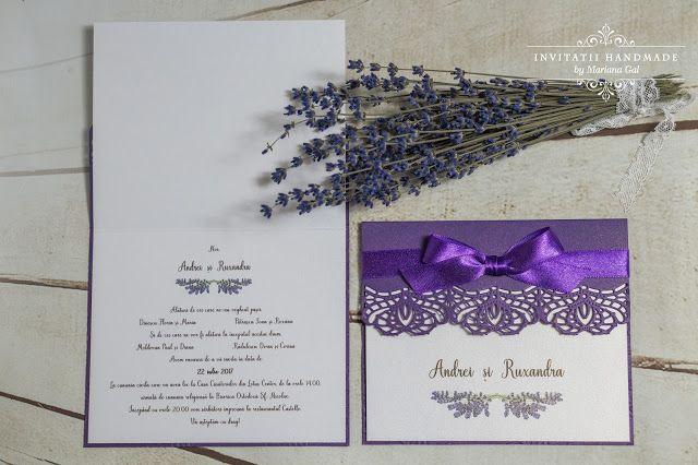 INVITATII HANDMADE by Mariana Gal: Invitatie mov & alb