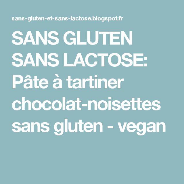 SANS GLUTEN SANS LACTOSE: Pâte à tartiner chocolat-noisettes sans gluten - vegan