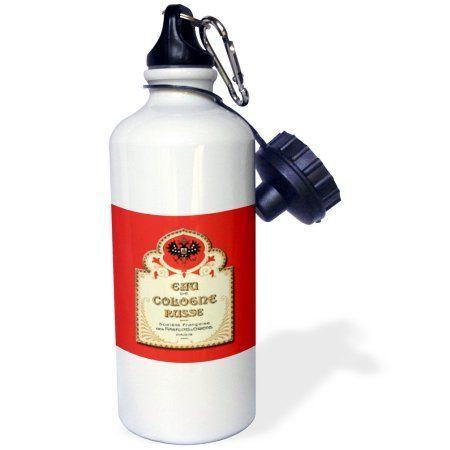 3dRose Eau De Cologne Russe Paris French Perfume Label, Sports Water Bottle, 21oz, White