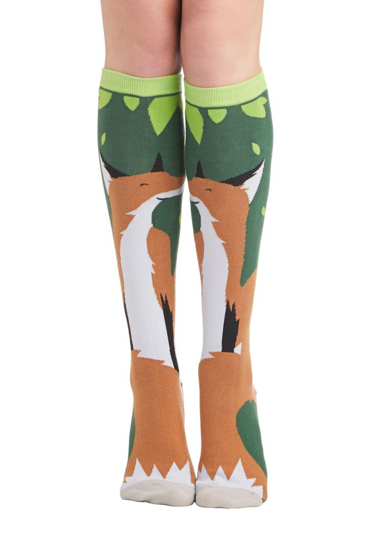 Fox Trot Along Socks. Youre in clever company whenever you slip your toes into these knee-high socks! #multi #modcloth