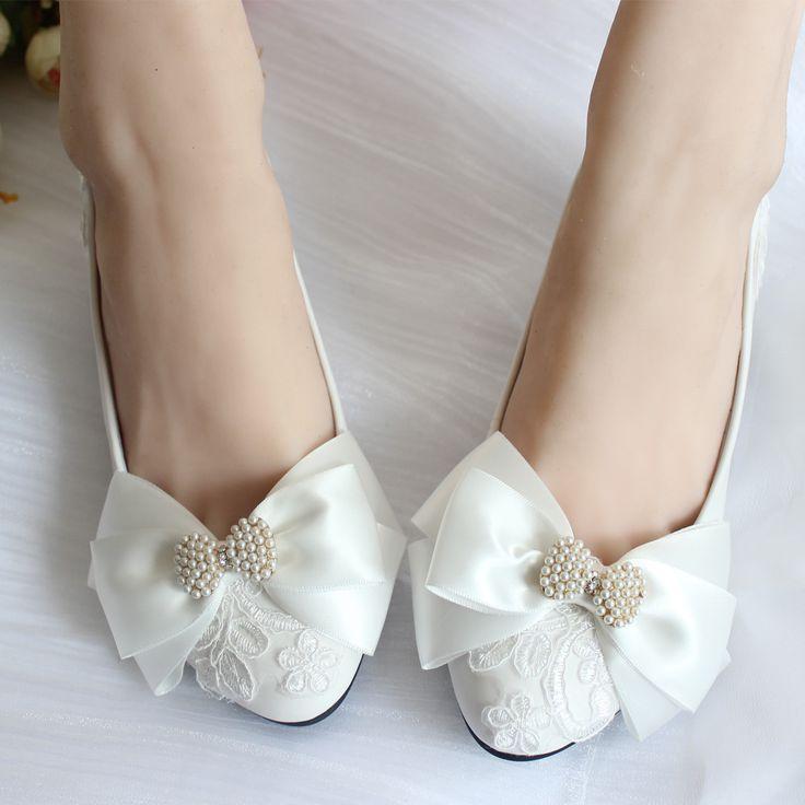 Мода кружева свадебное сладкие женские с бантом боути украшения свадебные белые для женщин бусины свадебный обуви