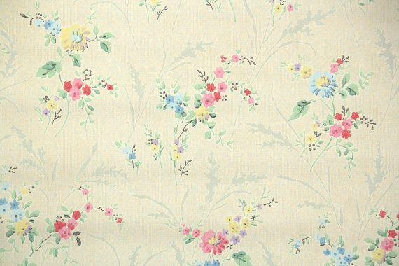 1920's Vintage Wallpaper - Antique Floral Wallpaper with Pink and Blue Pastel Flowers