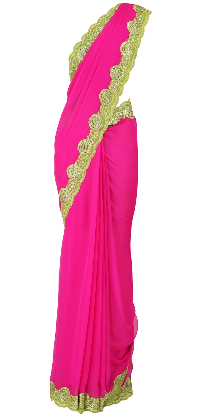 Fuchsia pink chiffon sari with lime green border and lime green blouse by SUNEET VARMA. Shop at https://www.perniaspopupshop.com/valentines-special/suneet-varma-1