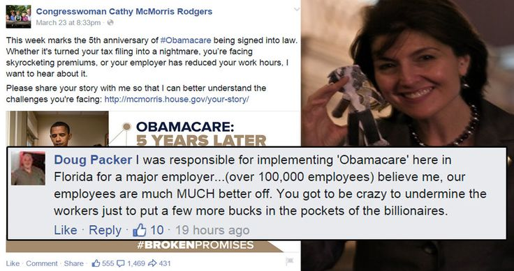 """Washington Congresswoman Cathy McMorris Rodgers wanted her Facebook followers to tell her their Obamacare """"horror stories,"""" but she was treated to a strong dose of honesty, instead."""