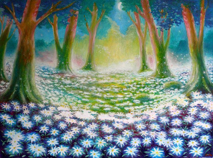 """✨ Звёздный сад Эдельвейсов ✨   (Холст на подрамнике, масло. Размеры 60*80) Иллюстрация к прекрасному саду из звездных цветов эдельвейсов, сцена из книги """"Жанна и Таинственный лес"""". Картина была написана на заказ."""