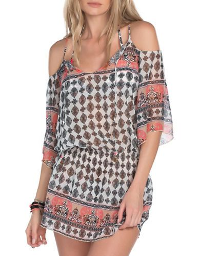 Becca Swim Belly Dancer Cold-Shoulder Cover-Up Women's Multi Colored M