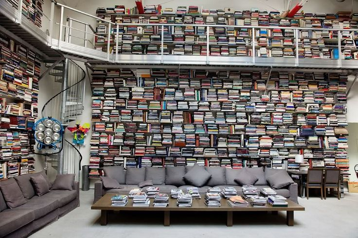 Gray couch with every book, ever.