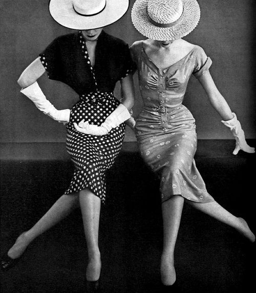 christinerod: Models in two fitted print dresses by Miss America, Vogue, April 1, 1951