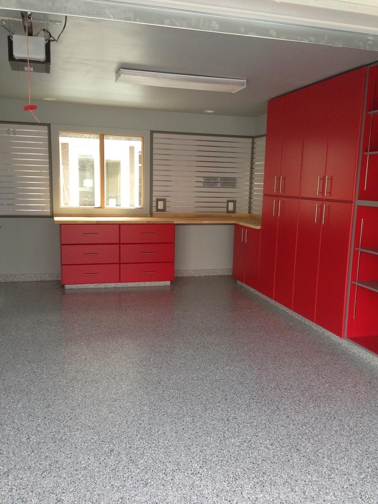 Custom Garage Epoxy Floor Designs: Red Custom Cabinets With Grey Trim, Grey