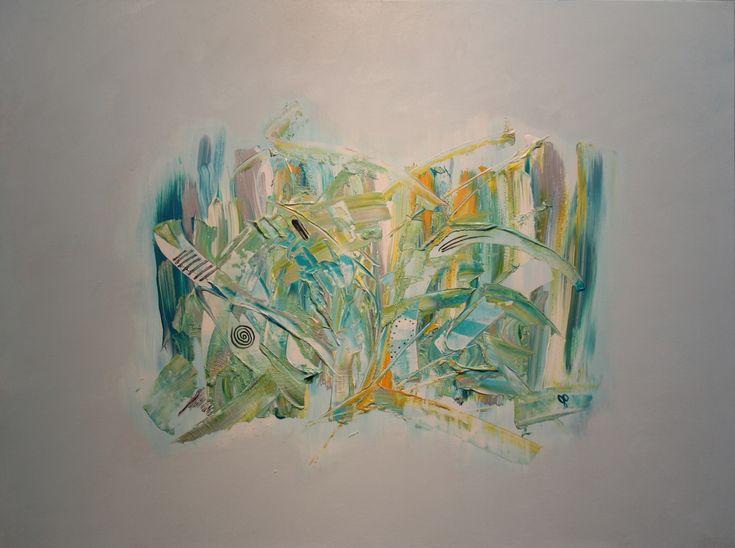 Pour réaliser cette œuvre, je me suis «branchée» sur mon amie. En fait, j'ai pensé à elle tout au long de la création. J'ai réalisé une autre toile de même dimension et l'ai fait choisir entre les deux... Devinez celle qu'elle a choisie... :)