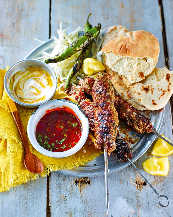 Serve these spicy, marinated lamb koftes with a cooling tahini yogurt dip, toasted pittas and some sharp pickles for a quick Lebanese meal.