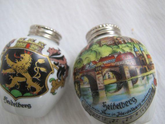 Gerold Porzellan Bavière vintage Heidelberg Allemagne Souvenir sel et poivrière / porcelaine salières et poivrières