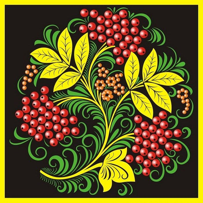 Folk Khokhloma painting from Russia. Pattern with leaves and red berries. #art…