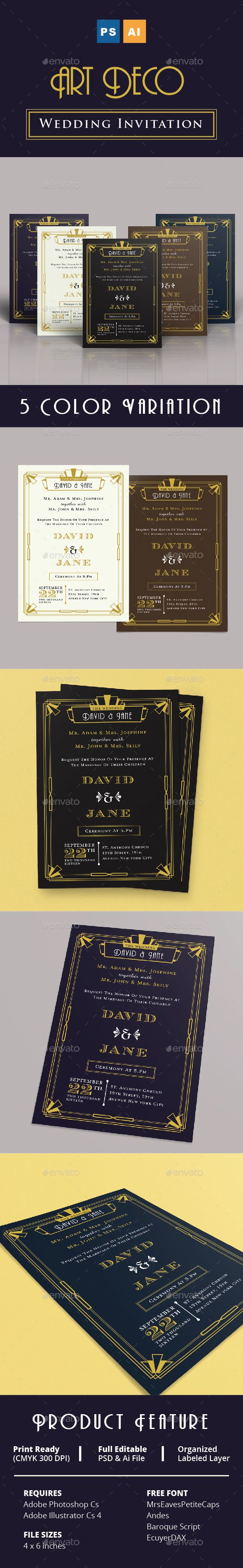 free wedding invitation psd%0A Art Deco Wedding Invitation