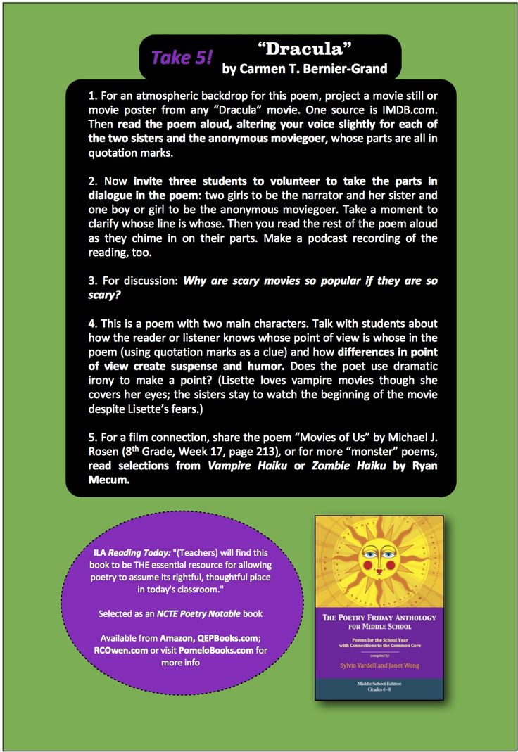 """Here are the """"Take 5"""" activities for sharing the poem, """"Dracula,"""" by Carmen T. Bernier-Grand from THE POETRY FRIDAY ANTHOLOGY® FOR MIDDLE SCHOOL compiled by Sylvia Vardell & Janet Wong (Pomelo Books, 2013)"""