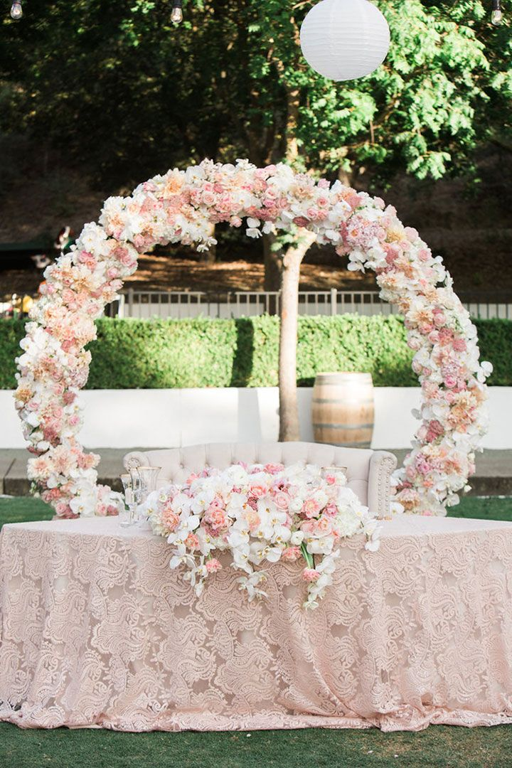 "Vo Floral Design's ""circle of love"" does double duty as reception backdrop behind sweetheart table as well as ceremony backdrop"