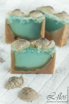 """Купить Мыло """"Морское дно"""" ручной работы - голубой, мыло ручной работы"""