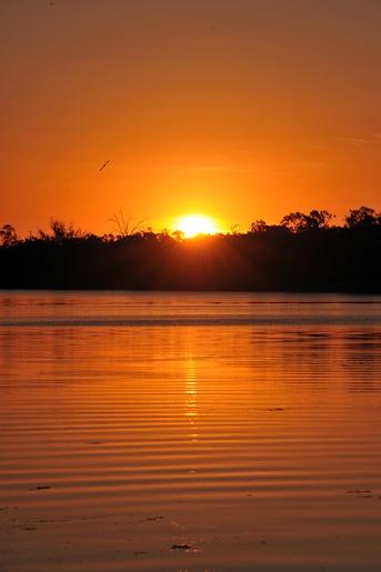 Murray River Sunset near Berri, South Australia, at the Bookpurnong cliffs.