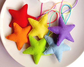 Rainbow Stars Felt Decoration. Stars Garland. Room Home Decoration. Banner. Christmas Ornaments. Wall Hanger.