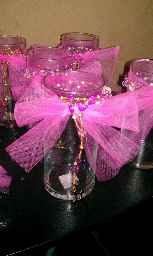 I made these for my god daughter babtism centerpieces filling up with cake pops and chocolate candy crosses