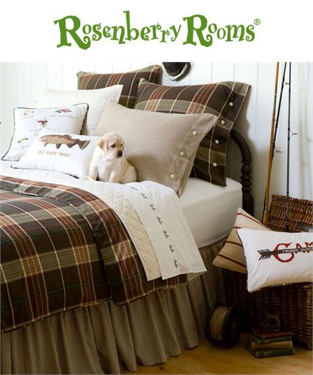 The Deerfield Duvet Cover is perfect for an outdoors themed boy's room.   This boy's bedding collection features a masculine plaid of browns, creams and sages with corded piping and horn button closures