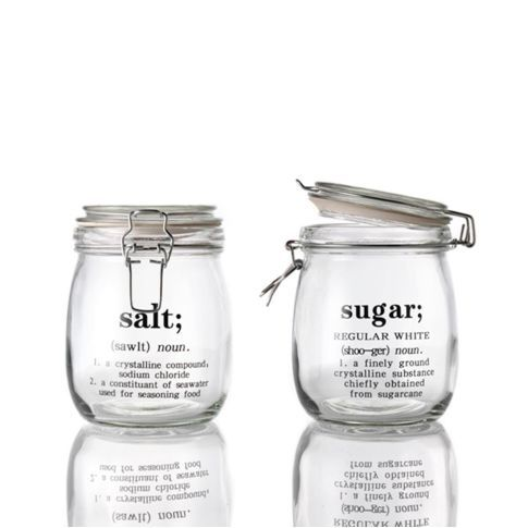 Vorratsdosen-Set, 2-tlg., Wording, Glas Vorderansicht