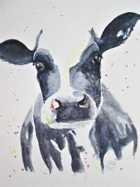 Original Cow Watercolour Art Farm Animal Art Black And White Cow