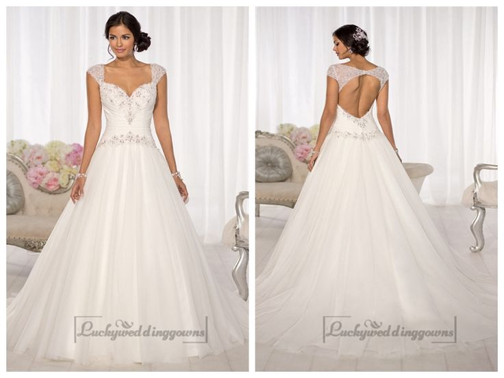 Beaded Cap Sleeves Sweetheart A-line Keyhole Back Wedding Dresses