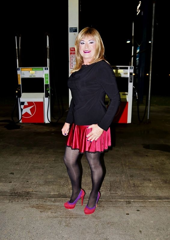 Crossdresser, Anita Makova in public at a service station ...