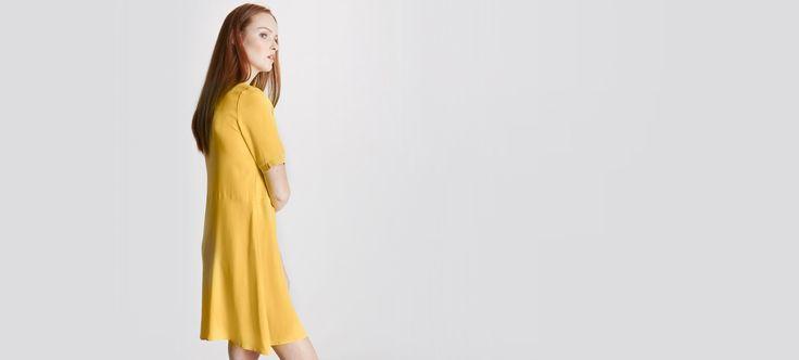 Damen-Kleid, Spitzen-Details - Gelb+Marine - 3