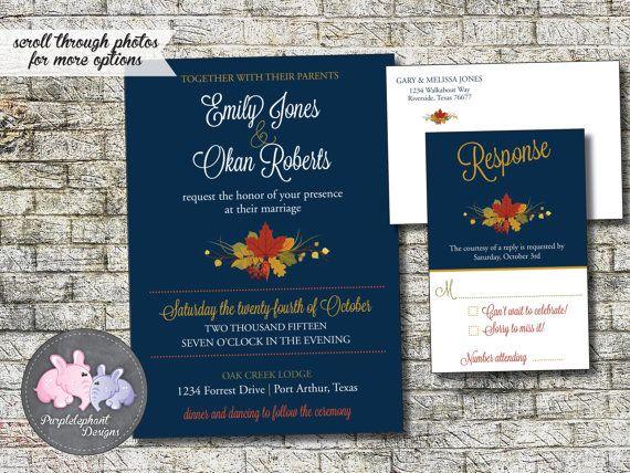 Fall Wedding Invitation Package Navy Jewel by PurplelephantDesigns