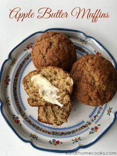 Apple Butter Muffins - so easy! The apple butter is great spread on English muffins, biscuits or toast.  It's also fantastic baked into muffins. >> If you're not using super sweet apple butter, add sugar.